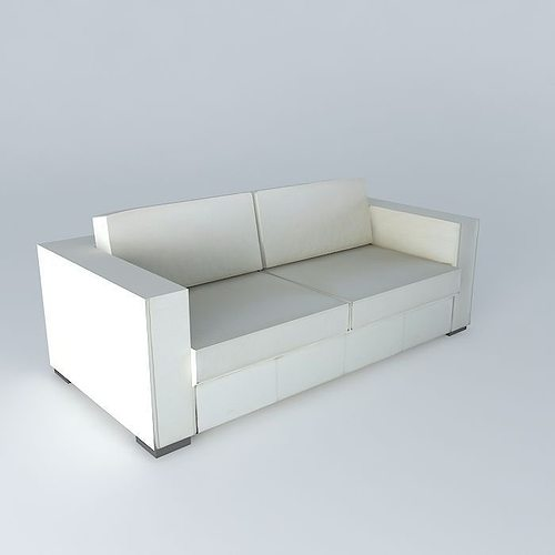Berlin White Leather Sofa Houses The World 3d Model Max Obj 3ds Fbx Stl Dae