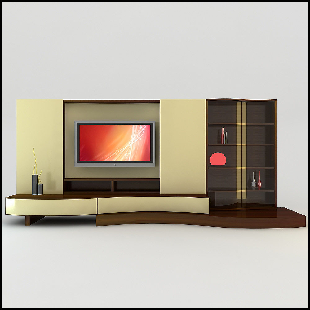 Modern 3d shelf unit for your living room modern diy art for Modern tv unit design ideas