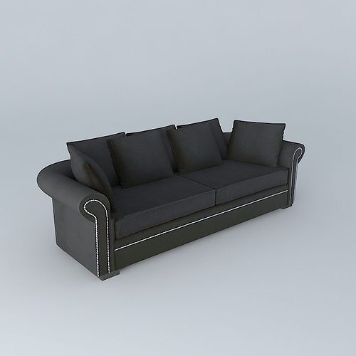 plazza charcoal gray sofa maisons du monde 3d model max. Black Bedroom Furniture Sets. Home Design Ideas