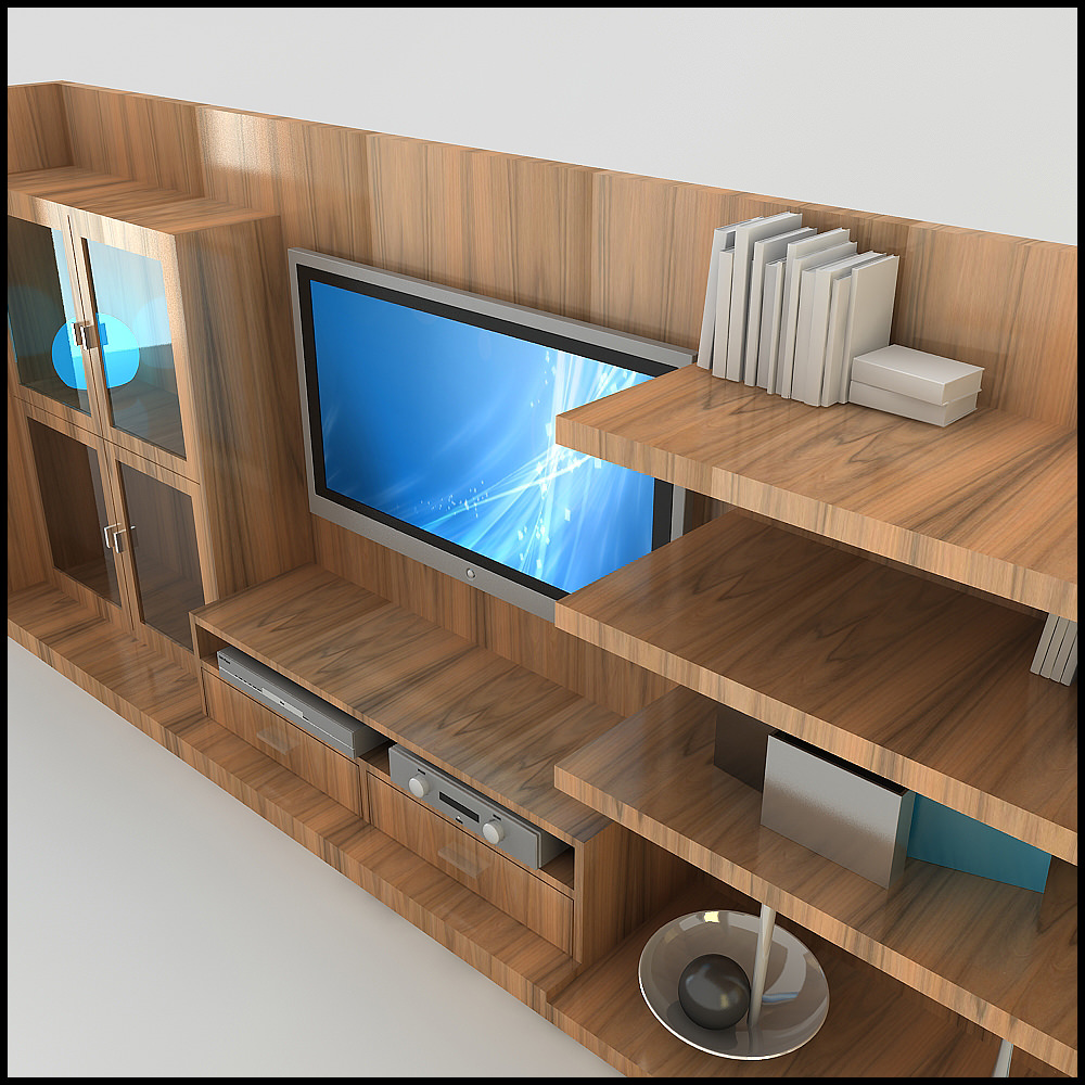 TV / Wall Unit Modern Design X_18 3D Model .max .obj .3ds .c4d ...