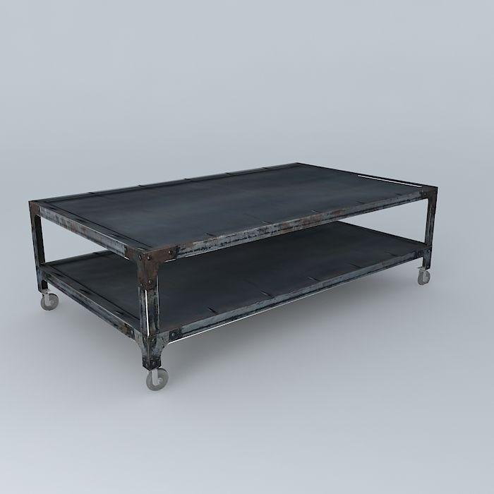 Coffee table newton maisons du monde 3d model max obj 3ds for Table factory maison du monde