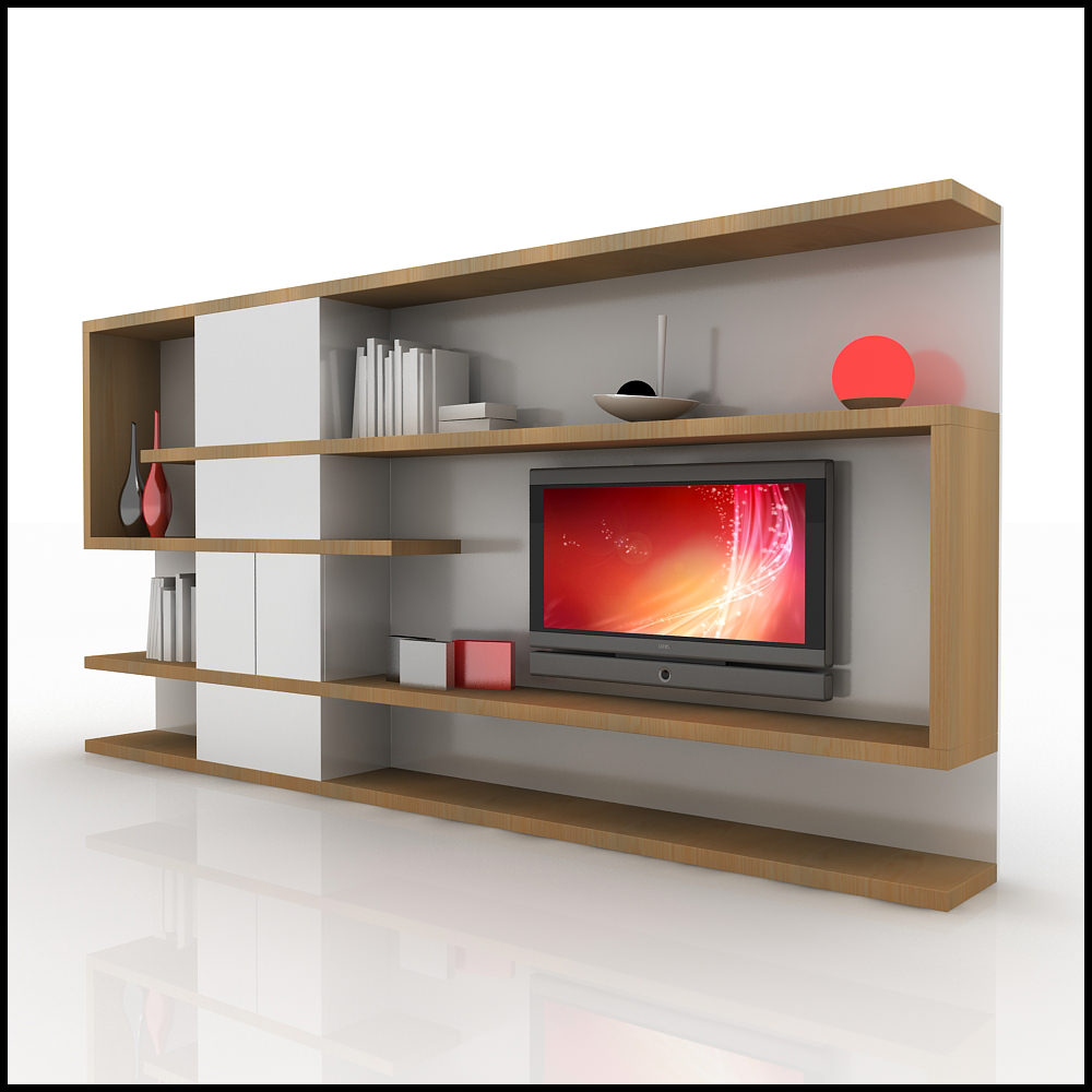 Tv wall unit modern design x 04 home media center 3d models - Modern tv interior design ...