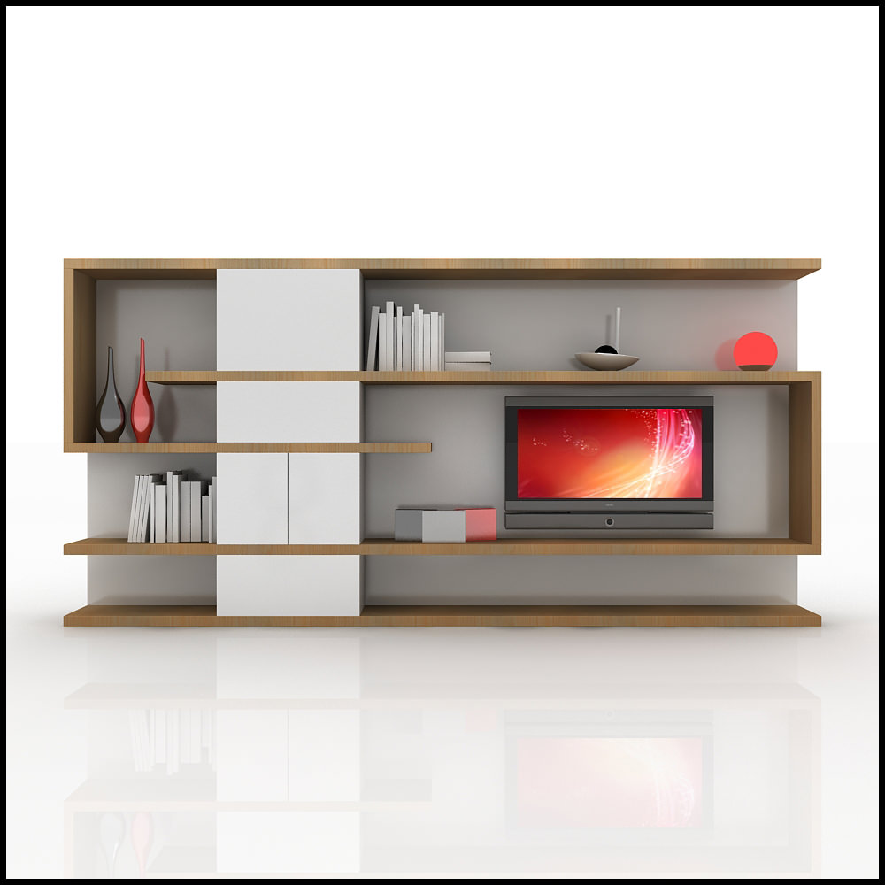 Tv wall unit modern design x 04 home media center 3d for Modern tv unit design ideas