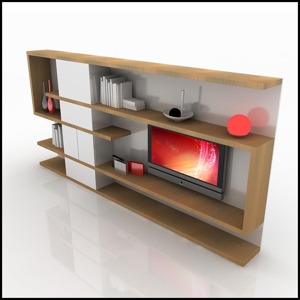 Tv Wall Unit Modern Design X 04 Home Media Center 3d Models