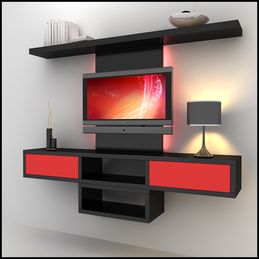 Tv wall unit modern design x 09 3d models for 3d decoration models