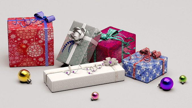 collection christmas gifts 3d model max obj mtl fbx 1