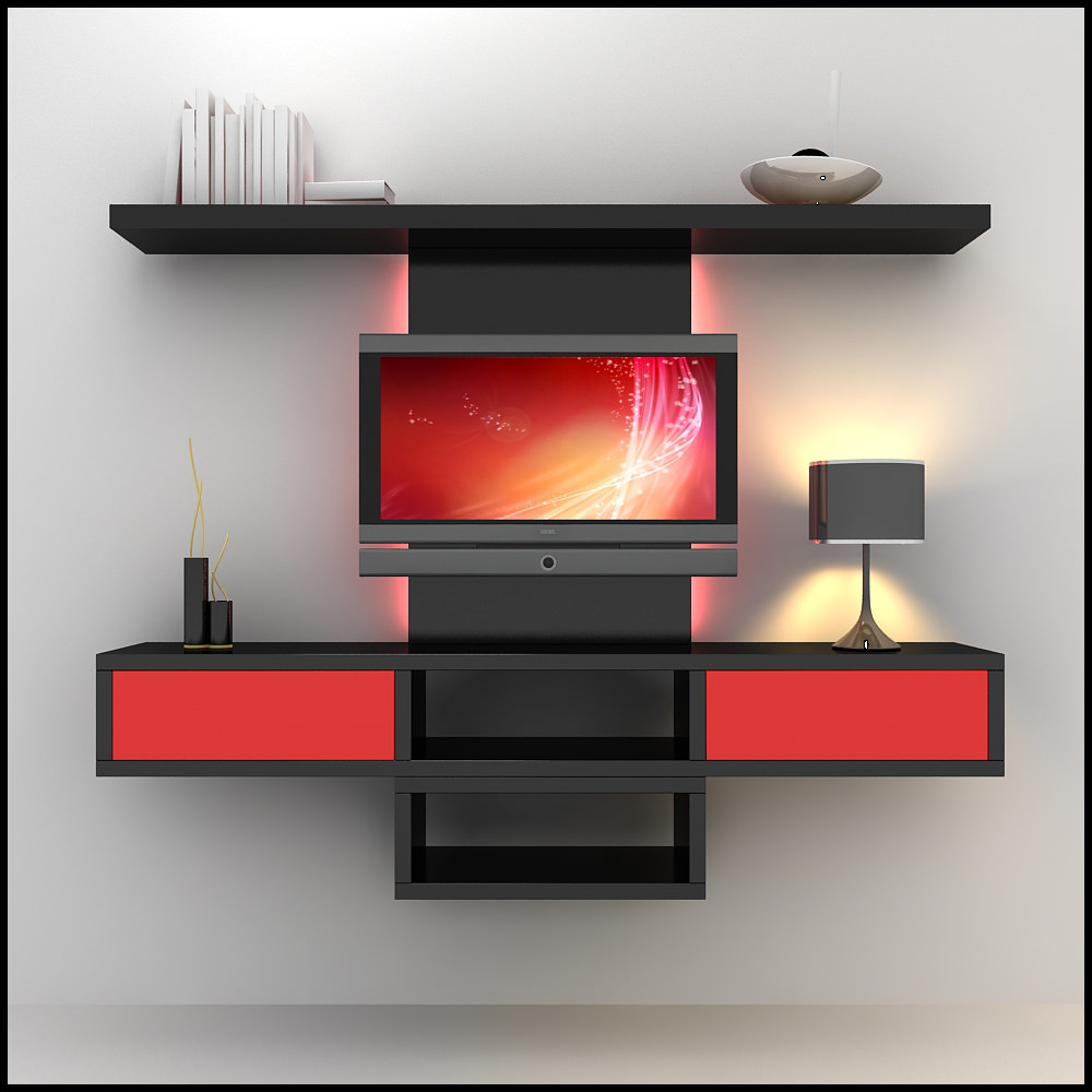 Tv wall unit modern design x 09 2 3d models - Modern tv wall unit ...