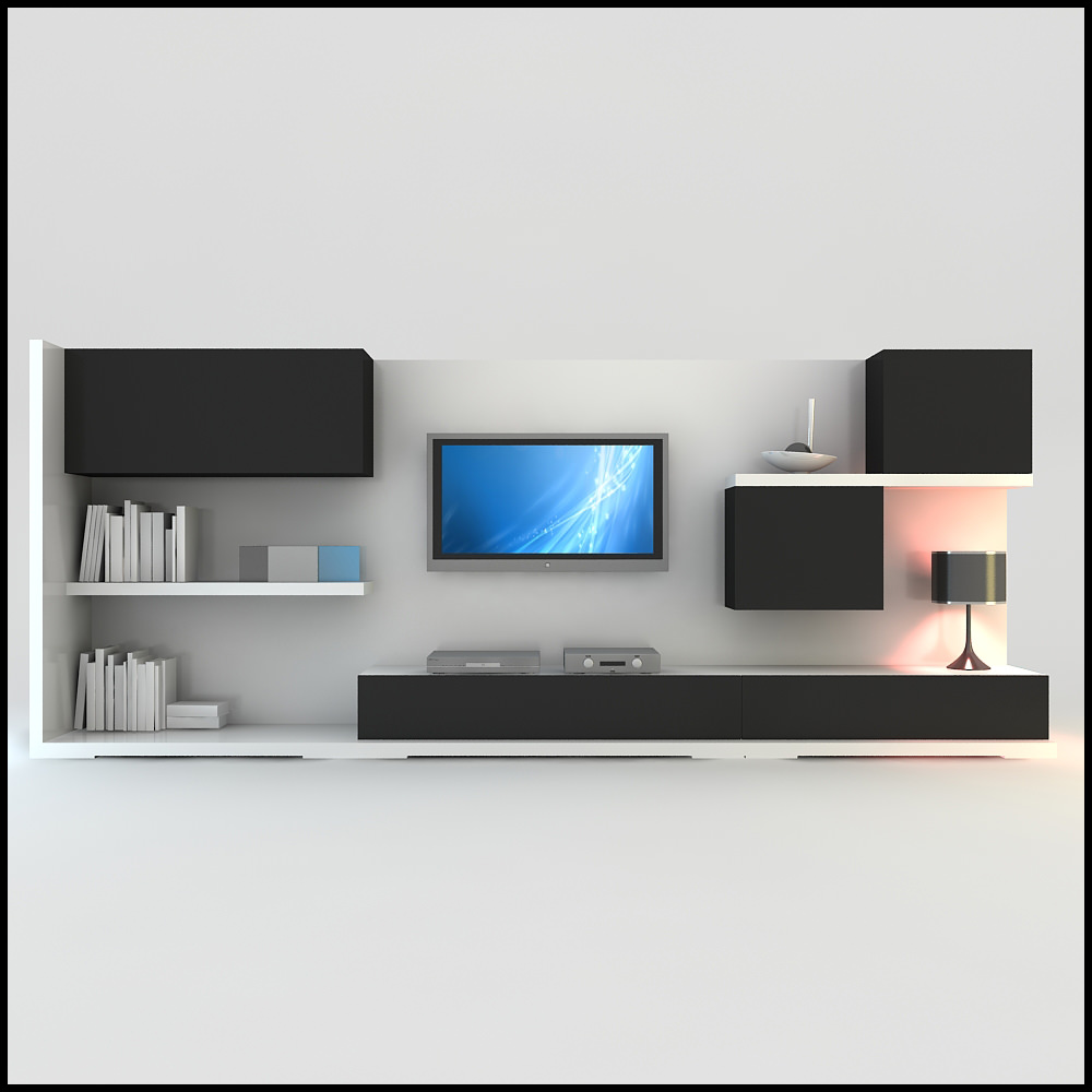 Tv wall unit modern design x 15 3d models for Modern tv unit design ideas