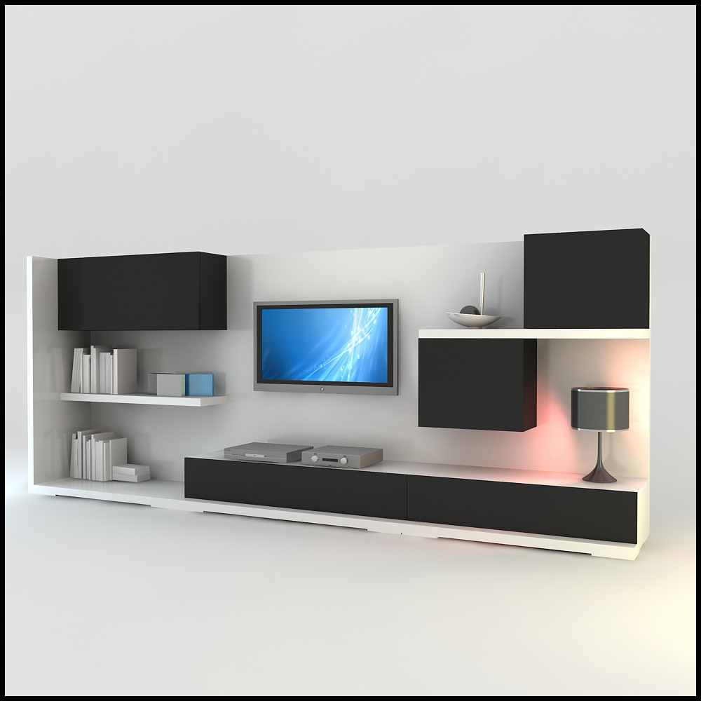 Tv wall unit modern design x 15 3d models Modern tv unit design ideas