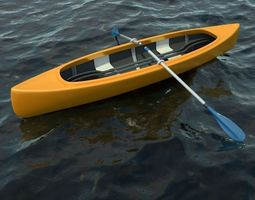 Canoe Boat with 2 Types of Oars 3D model