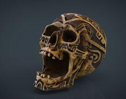 3d model human head skull with ancient tribal tattoo