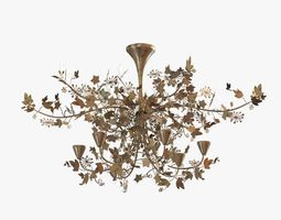porta romana -ivy shadow chandelier - forest gold 3d