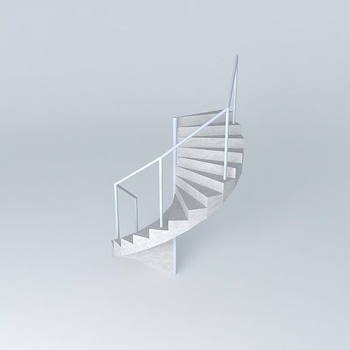 3d model spiral staircase metal white cgtrader for Aluminum spiral staircase prices