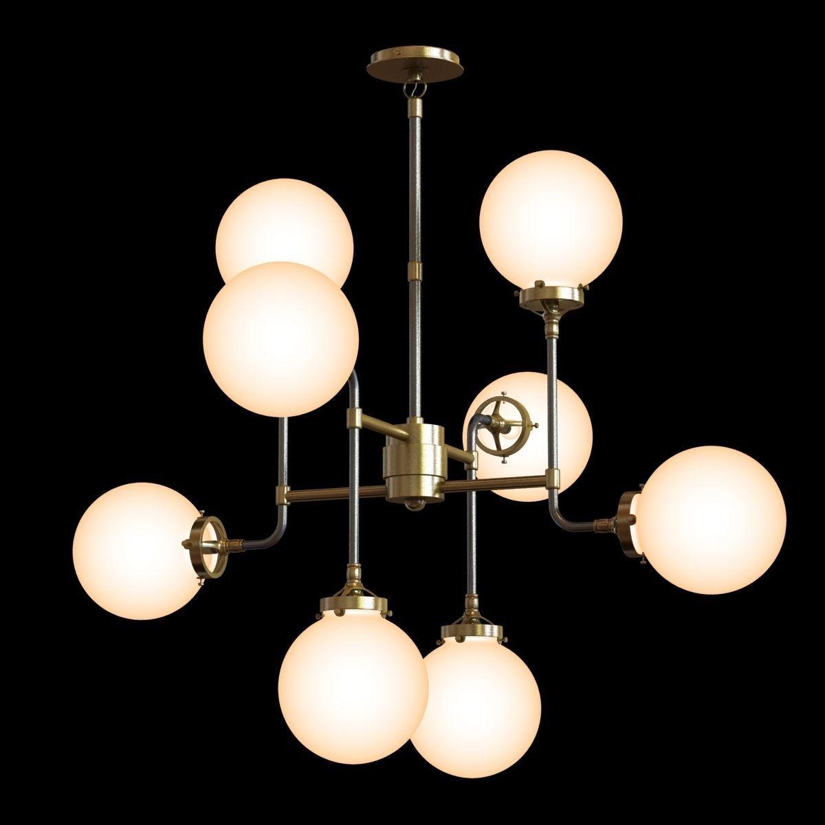 Restoration Hardware BISTRO GLOBE MILK GLASS 8-LIGHT CHANDELIER 3D ...