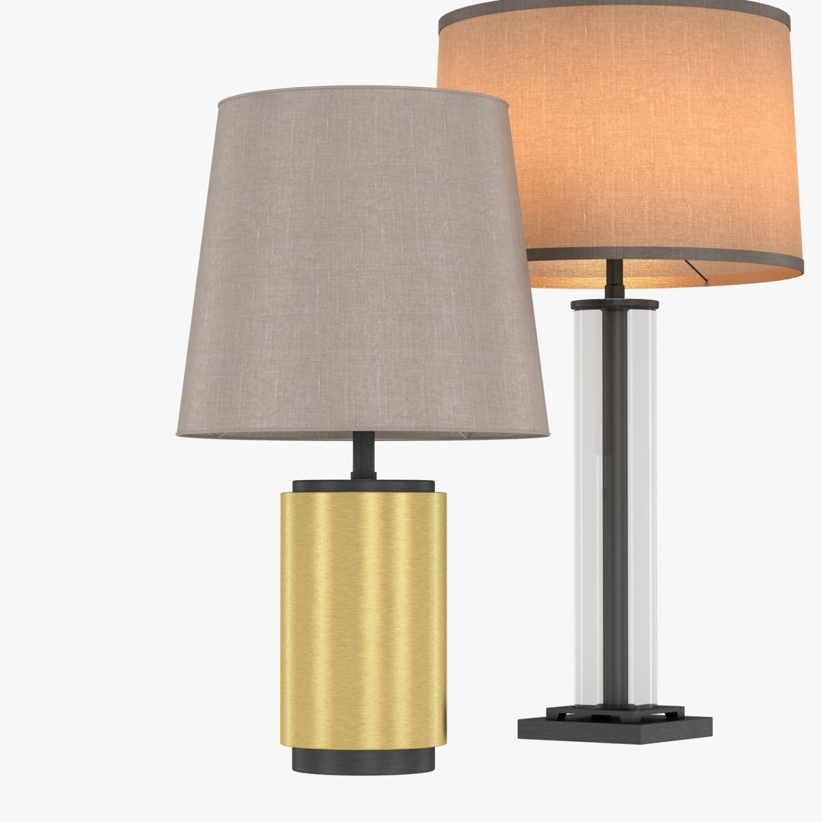 Small glass table lamps -  Restoration Hardware French Column Glass Table Lamp 3d Model Max Obj 3ds Fbx Mtl 2