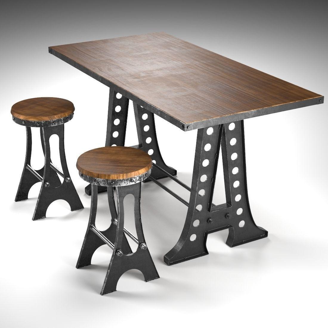 A frame dining table 3d model max obj fbx for Dining table frame