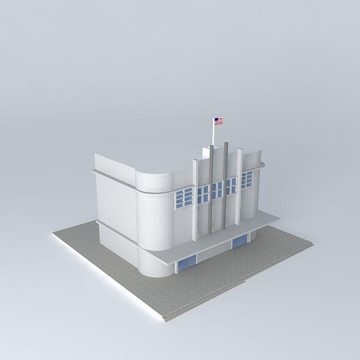 American Art Deco Building Free 3D Model