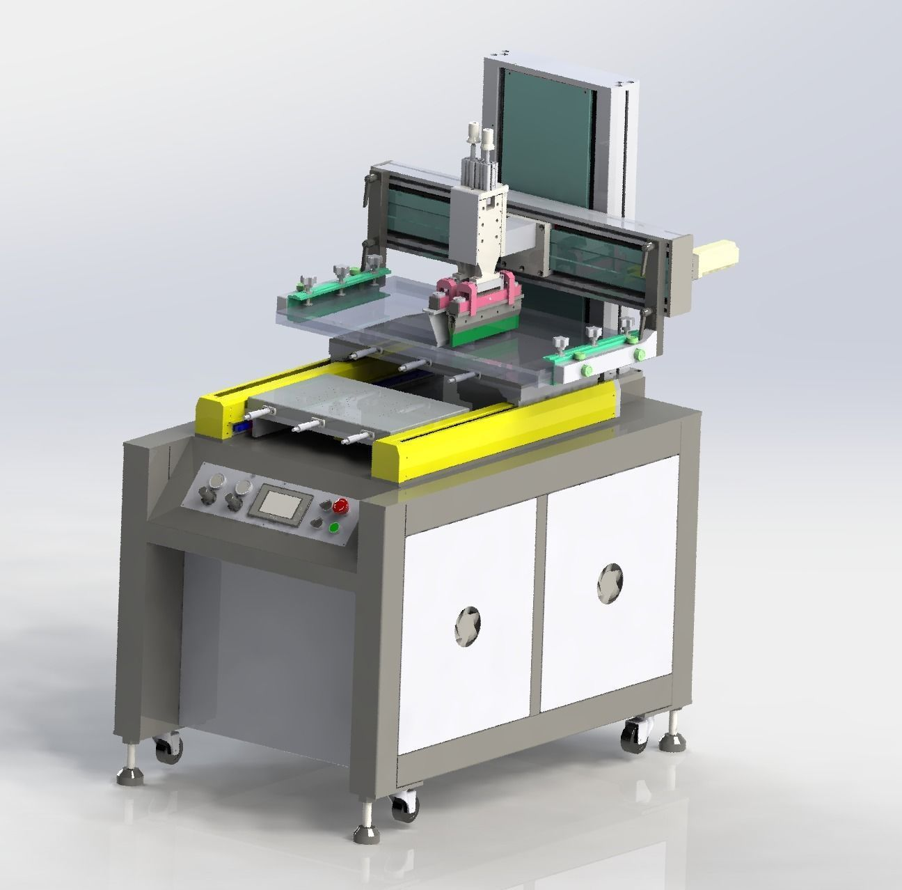 Double platform screen printing machine