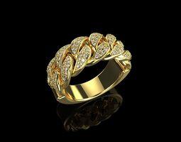 3D print model Diamond Cuban Ring N5