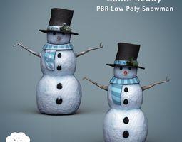 PBR Low Poly Snowman 3D model