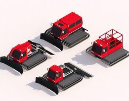 Cartoon Low Poly Snowcat Track Vehicles Pack 3D asset