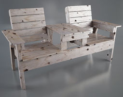 DOUBLE CHAIR BENCH 3D model
