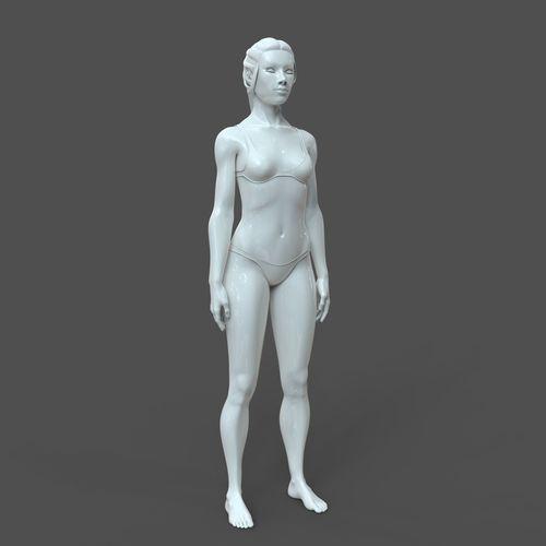 cad-friendly young female model f4p2d0v1 3d model obj mtl fbx stl 3dm dwg ige igs iges 1