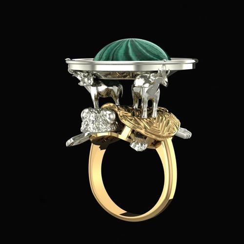 ring without gems elephants on a turtle 3d model obj mtl stl 3dm 1