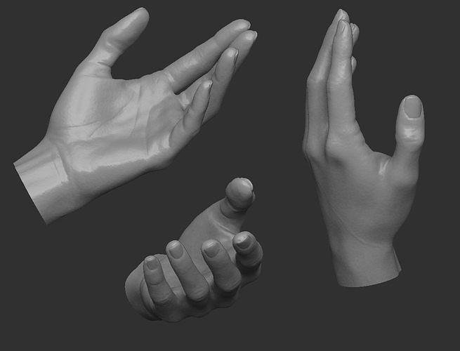 female hand hp 3d model obj mtl ztl 1