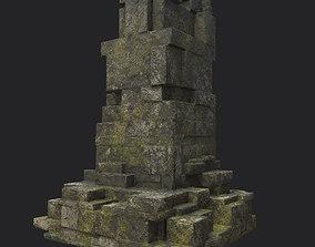 3D asset Low poly Ruin Temple Block 03 181116