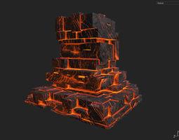 3D asset Low poly Lava Temple Block 07 181116