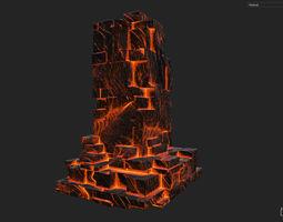 3D model Low poly Lava Temple Block 03 181116