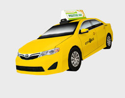 3D asset Toyota Camry city cab taxi low polygon model