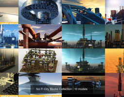 Sci Fi City Blocks Collection 3D model
