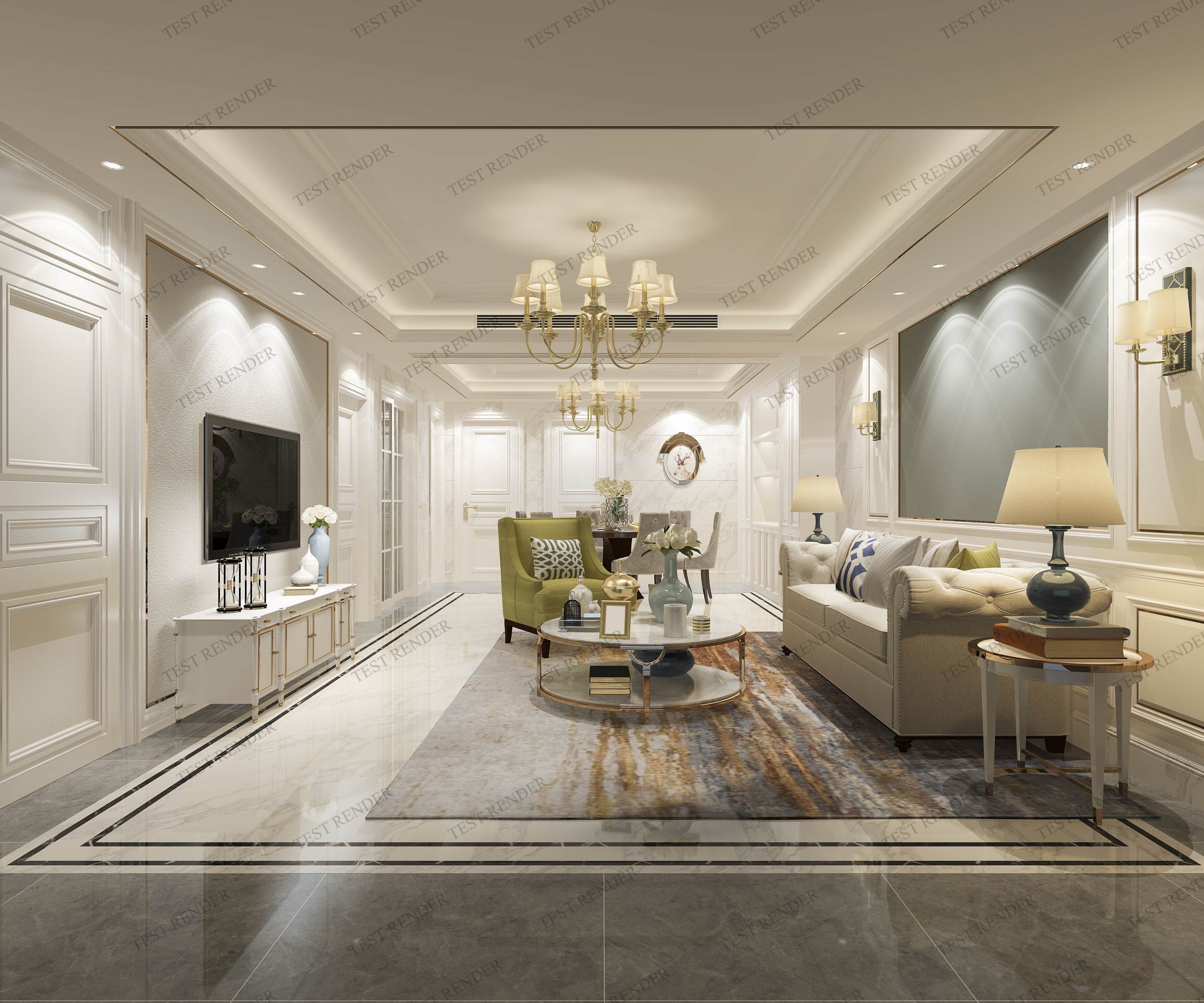 Luxury Classic Living Rooms: 3D Model Modern European Classic Living Room With Tv