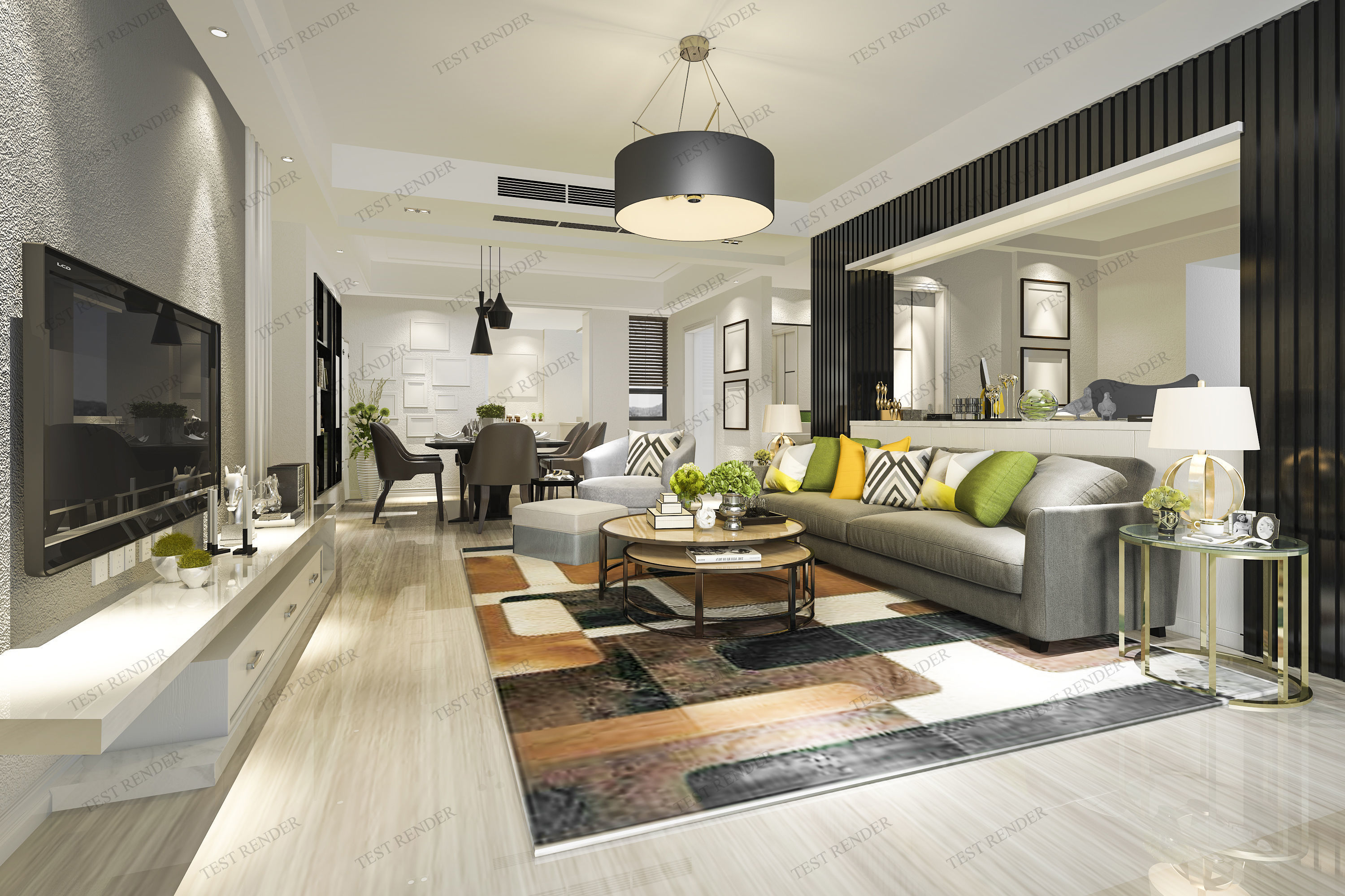 Modern living room and dining room 3d model sofa - Free interior design ideas for living rooms ...