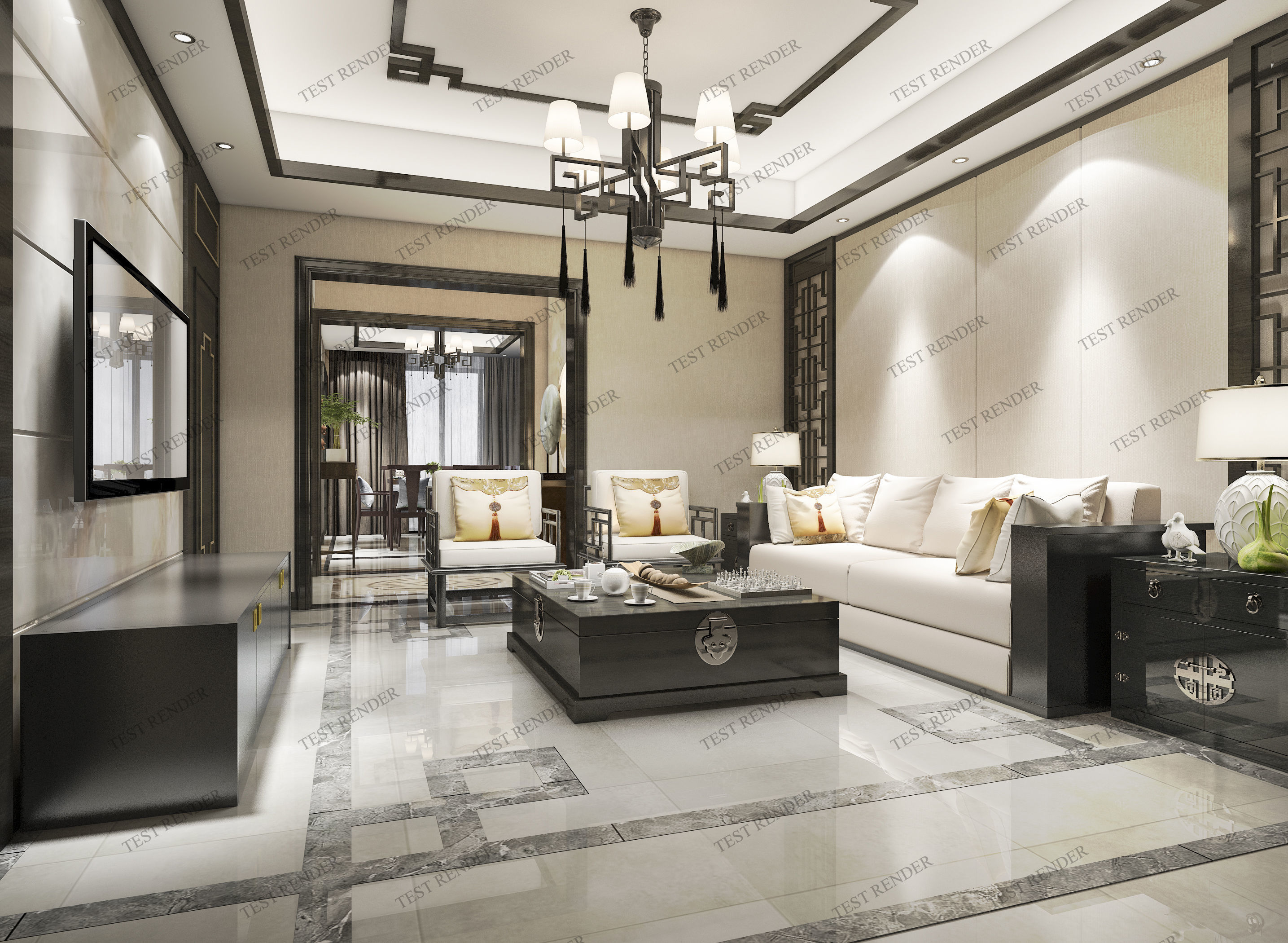astounding 3d luxury living rooms | classic chinese modern luxury living room with tv 3D