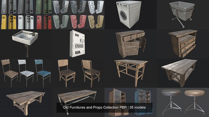 old furnitures and props collection pbr 3d model max obj mtl 3ds fbx dae tga 1