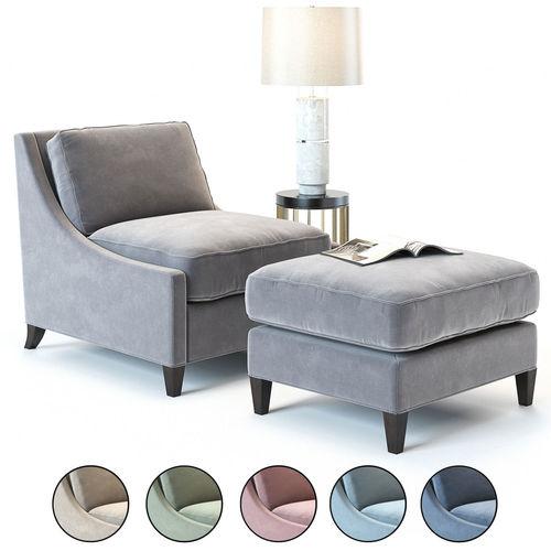baker curved back lounge chair 3d model max obj mtl fbx 1
