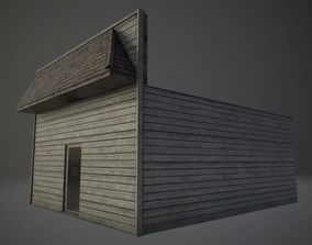 Wood House 3D asset low-poly PBR