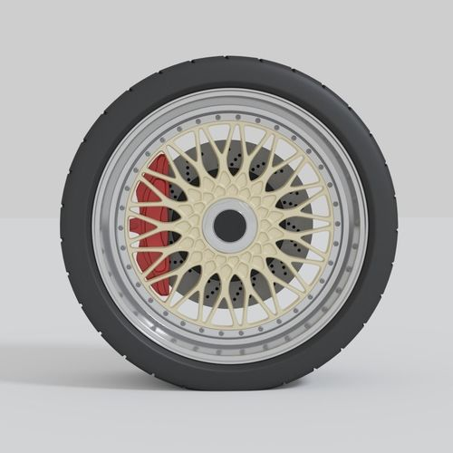 simple car wheel with brake and tire 3d model blend 1