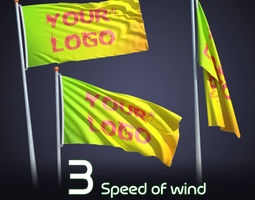 3D model FLAG ANIMATED 3 SPEED OF WIND