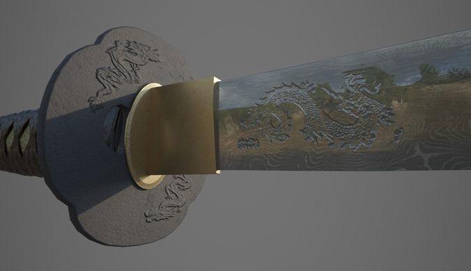 katana samurai sword 3d model low-poly obj mtl fbx stl 1