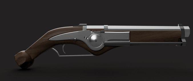 dishonored city watch pistol 3d model stl 1