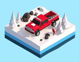 Cartoon Low Poly Snow Jeep Wheel Vehicle 3D model