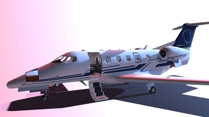 ultimate embraer phenom 300 blue and white 3d model fbx tga 1