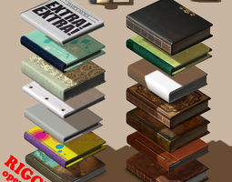 rigged book collection - 14 unique books 3d model