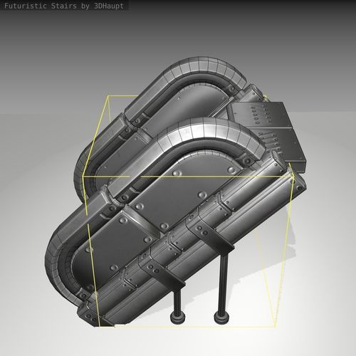 futuristic stairs - 32 - basic textures 3d model low-poly obj mtl 3ds fbx dxf stl dae 1