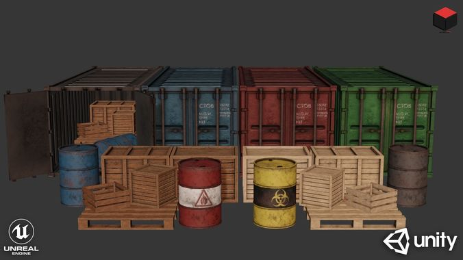 industrial cargo pack 3d model low-poly rigged animated obj mtl fbx 1