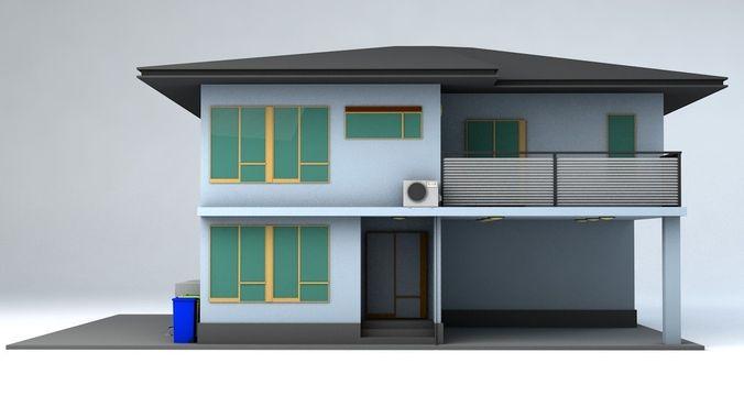japanese suburban rural house 3 game ready 3d model obj mtl fbx c4d blend dae 1